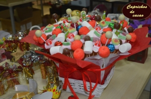 Centro navideño de chucherías y chocolate